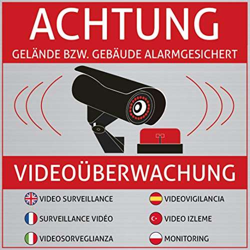 6 Achtung Videoüberwachung Aufkleber – Schild – Sticker (Kameraüberwachung – Überwachungskamera – Alarmanlage – Alarmgesichert – Hinweisschild – Warnschild) Edelstahl-Optik – 10 cm x 10 cm