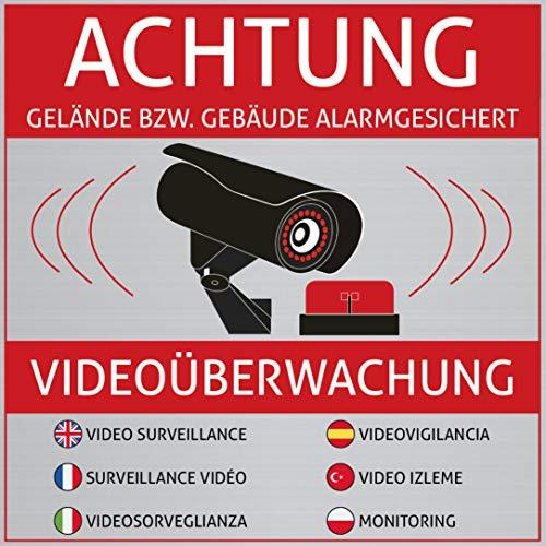 6 Achtung Videoüberwachung Aufkleber - Schild - Sticker (Kameraüberwachung - Überwachungskamera - Alarmanlage - Alarmgesichert - Hinweisschild - Warnschild) Edelstahl-Optik - 10 cm x 10 cm (Aufkleber Hundefutter)
