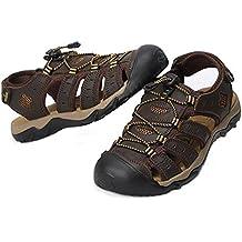 SHANGXIAN Sandalias De Playa Para Hombre Zapatilla De Cuero Real Zapatos De Trekking Cerrado-Dedo Del Pie , Dark brown , 43