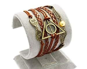 Hiboux vintage à la main pour Harry Potter Deathly Hollows ailes bracelet en cuir