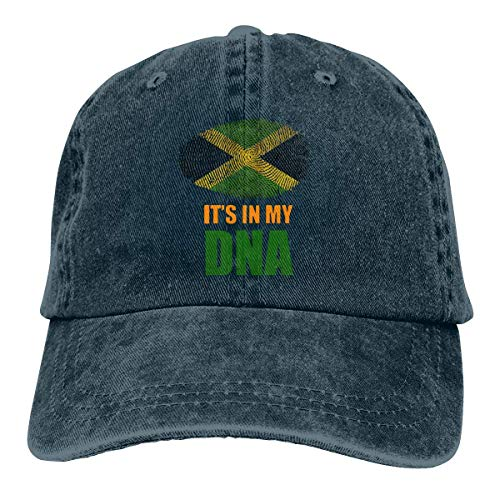Baseball Caps für Herren/Damen,Golf-Kappen,Jamaican It's in My DNA Jamaica Flag Men's Women's Adjustable Jeans Baseball Hat Denim Jeanet Cap Sports Cool Youth Golf Ball Unisex Cowboy hat fedora beach