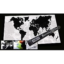 Scratchy Planet® – Mapamundi de diseño para rascar, mapamundi para rascar, atlas para rascar, mapa internacional para rascar, mapa XL, versión de diseño en blanco y negro