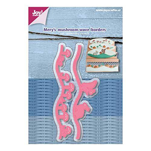 Joy!Crafts Stanz- und Prägeschablone 6002/1164'Mery's Mushroom Wave Borders (gewellte Bordüren Pilze, Waldtiere mit Stickstich)