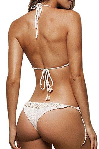 Frauen heißen Halfter Holiday Beach 2 Stück Badeanzug Bikini mit Schale Dekor White