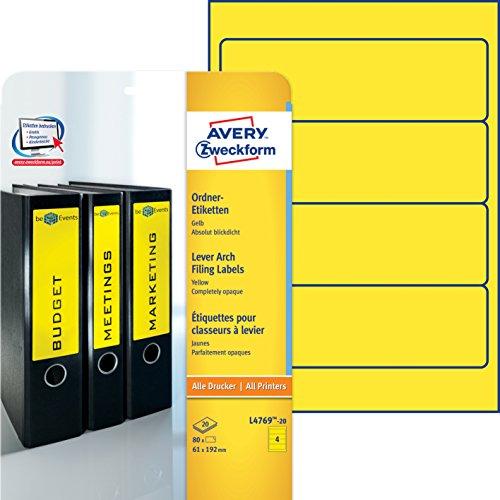 Avery Zweckform L4769-20 Ordner-Etiketten (A4, 80 Stück, blickdicht, 192 x 61 mm) 20 Blatt gelb