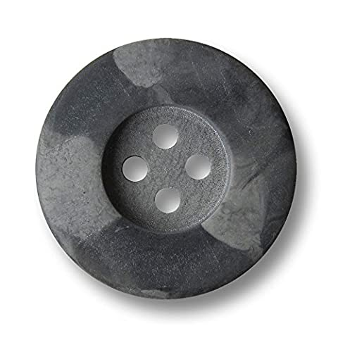 Knopfparadies Sewing Buttons - Set of 10 Timeless Plastic Buttons, Stone Look, Classic Four Hole Design - Colour: Matte Dark Grey / Medium Grey, Ø approx.