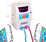 #5: All in one universal travel adapter with 2 usb port indian pin to multi 3 pin plug power adapter 2 Ampere - White