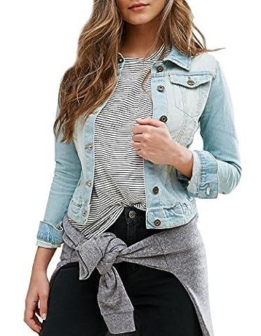 SS7 nouvelles femmes Veste En Jeans, Black Blue, Size 8 - 16 - Jeans Bleu Clair, EU 50
