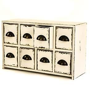 east2eden en bois Style Antique Blanc Table avec 8 tiroirs Meuble de rangement/commode avec tirettes en métal
