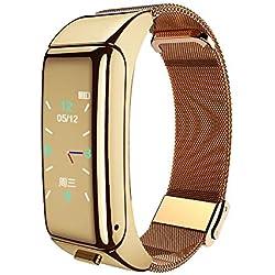 YOUQING - Braccialetto intelligente con auricolari Bluetooth, multifunzione, impermeabile, 2 in 1, leggero, con controllo touch, fitness tracker, orologio per donne e uomini