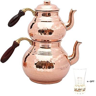 Lot de 2théières avec couvercles et poignée en bois, théières en cuivre, Cuivre martelé Tea Pot, Pot de thé turc, Cuivre