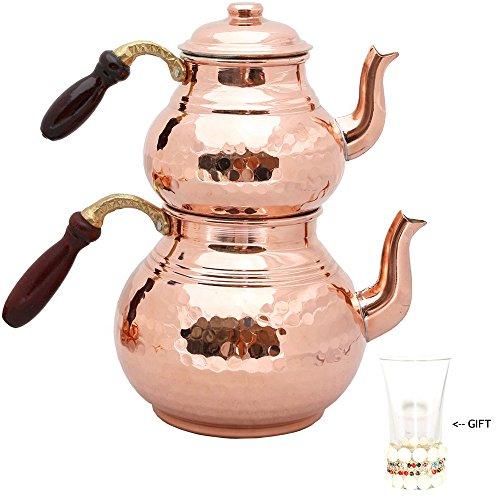 Set von 2Teekannen mit Deckel und Holzgriff, Kupfer Teekannen, Kupfer gehämmert Tee Topf, Türkisch Tee, Kupfer Topf -
