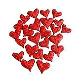Sisalherzen als Streudeko für die Tischdeko bei der Hochzeit oder die Liebeserklärung, romantische Deko Herzen für Valentinstag und Heiratsantrag, rot