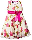 Smiling Bows Fushia Party and Evening wear Floral Print Girls Dress