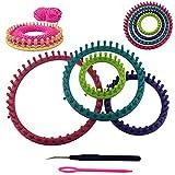 6 tlg. Strickringe Set - 4 Ringe in verschiedenen Grössen mit Nadel und Haken und ausführlicher Anleitung