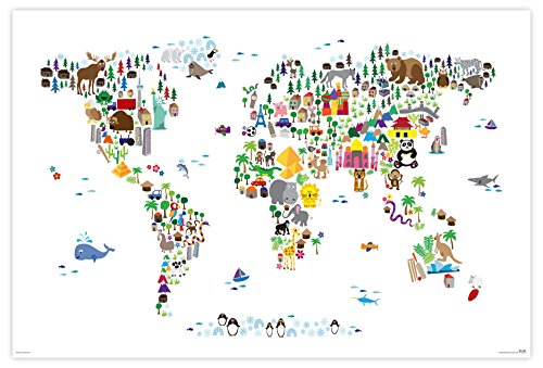Close Up Tiere der Welt XXL Premium Poster mit Tieren - Animal Map of The World - 91,5 x 61 cm, Michael Tompsett 2 St. transparente Posterleisten mit Aufhängung - Tompsett Michael Weltkarte