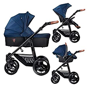 Venicci Gusto 3-in-1 Travel System - Navy - with Carrycot + Car Seat + Changing Bag + Footmuff + Raincover + Mosquito Net + 5-Point Harness and UV 50+ Fabric + Car Seat Adapters + Cup Holder   9
