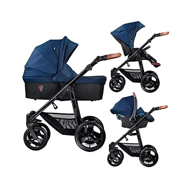 Venicci Gusto 3-in-1 Travel System - Navy - with Carrycot + Car Seat + Changing Bag + Footmuff + Raincover + Mosquito Net + 5-Point Harness and UV 50+ Fabric + Car Seat Adapters + Cup Holder  3 in 1 Travel System with included Group 0+ Car Seat Suitable for your baby from birth onwards 5-point harness to enhance the safety of your child 1
