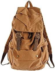 Color caqui bolsa de viaje Vintage lona hombros mochila senderismo escuela