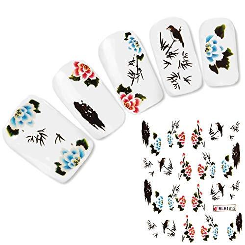 lecoolz Nagel Sticker Nail Art Tattoo Japan Vogel Blumen Aufkleber Neu! Japan Vogel