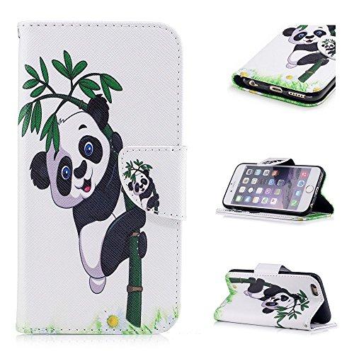 Custodia per iPhone 6 Plus / iPhone 6S Plus, Hancda Modello Elegante Disegni Cover Funzione Stand Custodia in Pelle Portafoglio di Cuoio Libro Sottile Flip Case Protettiva Chiusura Magnetica Antiurto  A Panda