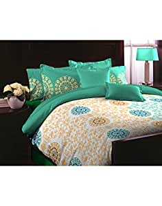 Tomatillo Cotton Bedsheet with 2 Pillow Covers - Double Size, Multicolor