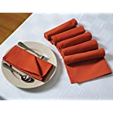 Solid Color Cotton Dinner Napkins - 20 Inch X 20 Inch - Set Of 12 Premium Table Linens For The Dining Room - Rust