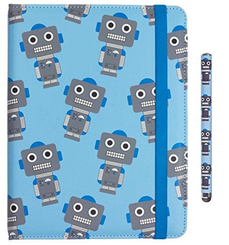 My Doodles by Trendz Geschenkset für Kinder im lustigen Roboter-Design Inklusive Universal Folio Hülle Flip Case Cover für 6-8 Zoll Tablets und E-Readers (15,24 - 20,32 cm) und Stylus Eingabestift Kompatibel mit Samsung Galaxy Tab, Dell, Lenovo, Google Nexus, iPad Mini, Amazon Kindle Fire, Huawei, Odys uvm - Roboter Tablet-cover Für Kinder
