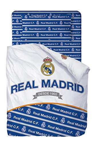 Real Madrid Juego De Sabanas de 3 Piezas - Encimera, Bajera y Funda de Almohada 180x270 + 105x200/25...