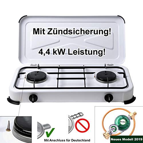 CAGO Campingkocher Gaskocher 2 flammig mit Zündsicherung inkl. Gasschlauch mit Manometer Gas Füllstandsanzeige und Schlauchbruchsicherung 3 4