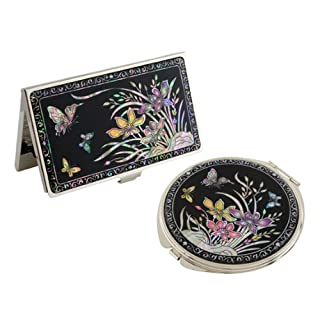 Mother of Pearl Orchid Flower Design Business Credit Name Card Holder Compact Mirror Set Stainless Steel Engraved Slim Id Money Case by Antique Alive