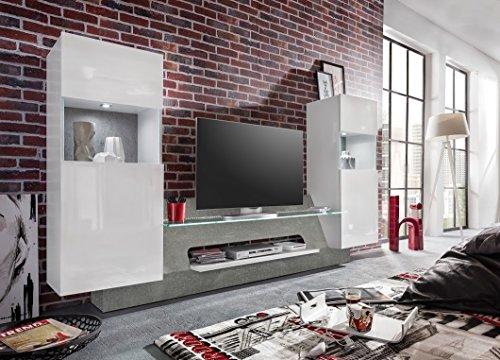 Dreams4Home Medienwand 'Ama',TV-Schrank,Wohnwand, Wohnmöbelkomibation,Schrank, Wohnzimmerschrank, Wohnzimmer (B/H/T) ca. 261 x 147 x 47 cm,weiß Glanz / grau, Beleuchtung:ohne Beleuchtung - 3