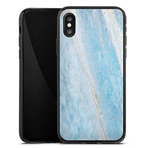Apple iPhone X Silikon Hülle Case Schutzhülle Marmor Blau Marble Marmoriert Silikon Case schwarz
