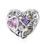 Kaayah - Ewige Liebe, Bead aus 925 Sterling Silber mit bunten Zirkonia - Edler Damen Anhänger für Ihr Charm Armband