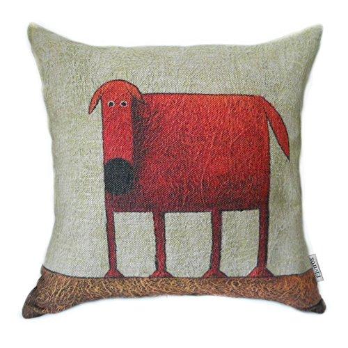 Elviros Dekorativ Baumwoll Leinen Mix Kissenbezug 45 x 45cm-Roter Hund (Mint Hund)