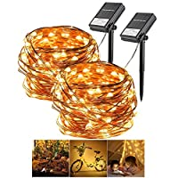 Warm White Solar String Lights, 200 LED Fairy Lighting Starry Light Copper Wire Waterproof Solar String Lamp for Outdoor Indoor Patio Garden Christmas Wedding Festival Holiday Bedroom Window Curtain
