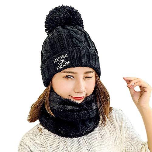 Sencillo Vida Conjunto de Gorro + Bufanda de Punto Invierno para Mujer  Beanie Sombrero de Lana b1363be4105