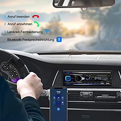Autoradio-mit-Bluetooth-Freisprecheinrichtung-1-Din-Autoradio-Bluetooth-mit-USB2AUXTF-FM-RadioMP3-Player-mit-Lenkrad-Fernbedienung-2019