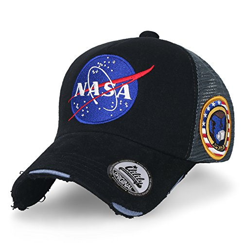 ililily NASA Meatball abgebildet im Logo Stickerei Baseball Cap Apollo 1 Flicken Trucker Cap Hut, Black Front-mesh Back Cap