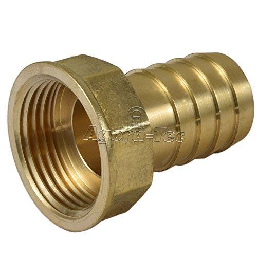 Agora-Tec® Messing Schlauchtülle Messing 1 Zoll (25,4mm) auf 1 Zoll IG (30,3mm) Industriequaltät für Gartenschlauch mit einen Innendurchmesser von 25,4 mm
