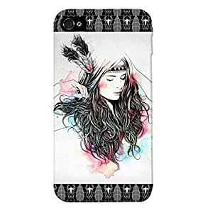 Fuson Feather Pattern Girl Back Case Cover for APPLE IPHONE 4 - D3879