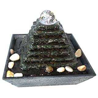 Zimmerbrunnen Feng Shui in Polyresin mit LEDs Pyramid