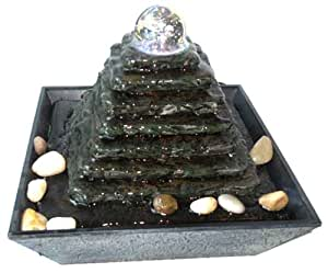 zimmerbrunnen feng shui in polyresin mit leds pyramid. Black Bedroom Furniture Sets. Home Design Ideas