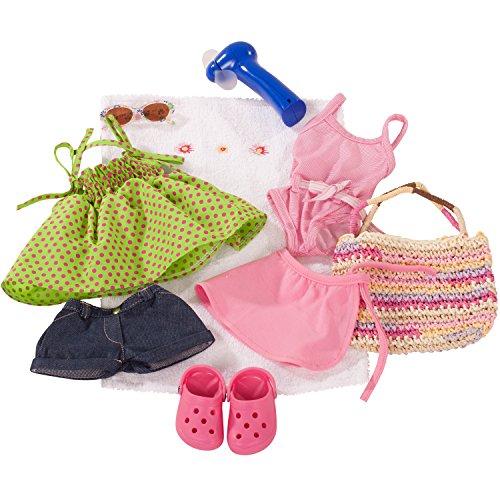 Götz 3401754 Kombination Sommerspaß - Puppenbekleidung Gr. XL - 10-teiliges Bekleidungs- und Zubehörset für Stehpuppen mit einer Größe von 45 - 50 cm (Geprüft Blauen Kleid)