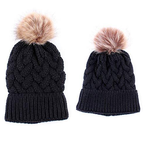 VJUKUBWINTER 2PCS Women Kids Baby Warm Winter Strick Beanie Fur POM Bobble Hat Crochet Ski Cap,Black (Hüte Crochet Winter Womens)