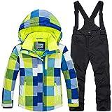 LPATTERN Kinder Jungen/Mädchen Skifahren 2 Teilig Schneeanzug Skianzug(Skijacke+ Skihose), Blau-Gelb Jacke+ Schwarz Trägerhose, Gr. 128/134(Herstellergröße: 10A/130cm)