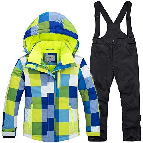 LPATTERN Traje de Esquí para Niños/Niñas 2 Piezas Conjunto Ropa para Deportes de Invierno, Azul+Negro, 110/3-4 años