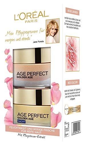 L'Oréal Paris Feuchtigkeitscreme für rosig-frischen Teint, Tag und Nacht Gesichtspflege Geschenkset, Golden Age Rosen Creme -