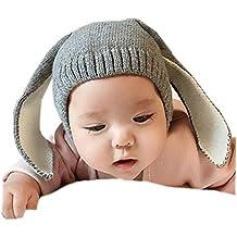 Gorras para bebé, Dragon868 Crochet de punto de conejo oreja invierno caliente gorras para bebé