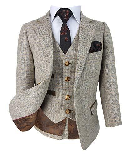 SIRRI Designer Herren Jungen Classic Retro Karo Tweed Anzüge in Beige größe 140 EU -
